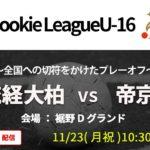 【高校サッカー】Aリーグ2位 流経大柏vsBリーグ1位 帝京 2020関東Rookie League U-16