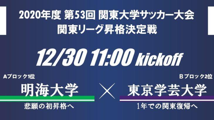 第53回関東大学サッカー大会 昇格決定戦 明海大学vs東京学芸大学