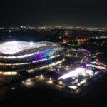 夜の鹿島サッカースタジアムを望む