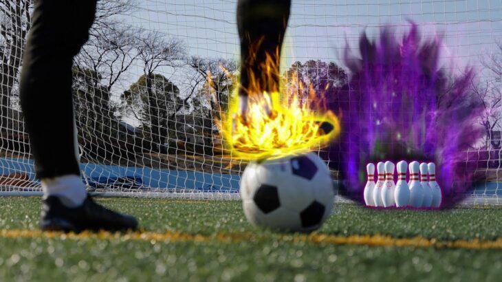 【神業】サッカーゴールにボーリングのピンを置いたら…