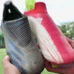 【レビュー】adidas 新旧 エックス プレミアムモデル 履き比べ 紹介 | サッカースパイク | X ゴースト | スピードフロー | 紐なし | 手入れ